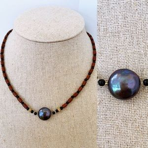 Freshwater Black Coin Pearl Brown Beaded Necklace